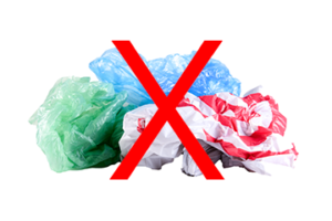 Plastic bags are not recyclable in your cart